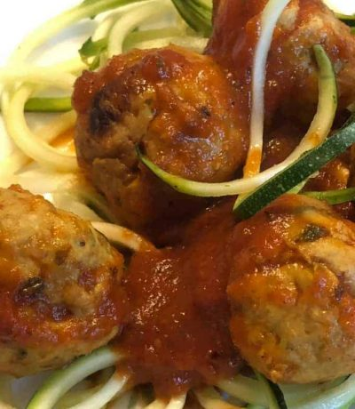 Chicken curry meatballs prepared with garlic, ginger and blend of Indian spices creates a perfect harmony for your taste buds. Meatballs served over spiraled zucchini makes a healthy dish to support your diet goal!