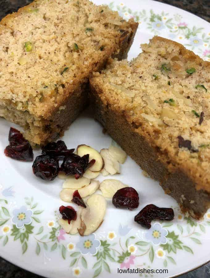 Enjoy easy to prepare zucchini bread with right amount of sugar, carb and protein which has not dairy and has low cholesterol.