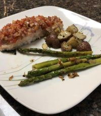 Easy Oven Baked Salmon with Bruschetta Topping